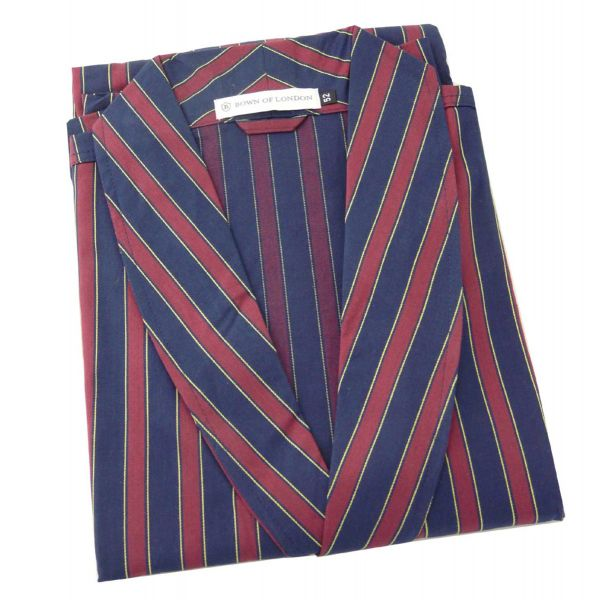 The Ionian - Mens Wine and Navy Stripe Cotton Gown from Bown of London