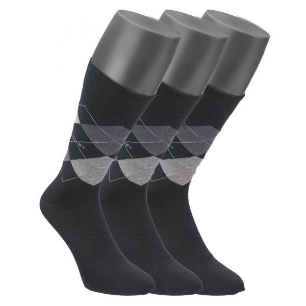3 pack of argyle design cotton socks in Grey from Jockey