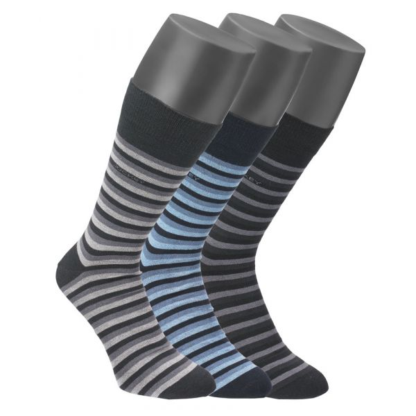 3 pack of striped cotton socks in Black, Blue and Grey from Jockey