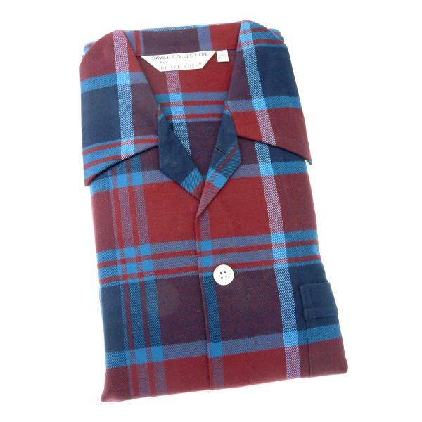 Derek Rose - Kelburn 7 - Mens Brushed Cotton Pyjamas in Teal Plaid - Tie Waist