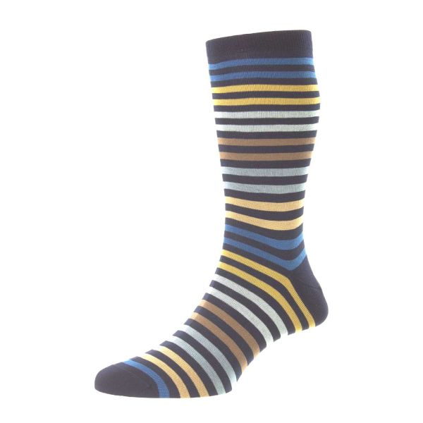 Pantherella Socks - Kilburn - Mens Double Colour Stripe Fil D' Ecosse Cotton - Half Calf