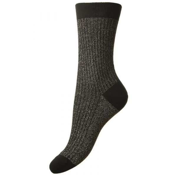 Larissa - Black Sparkle Rib Cotton Cashmere Socks from Pantherella