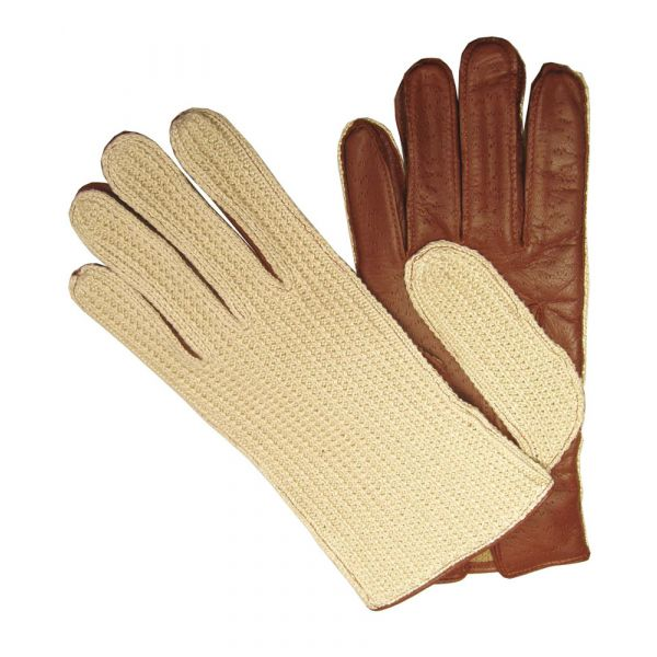 Crochet backed ladies leather gloves