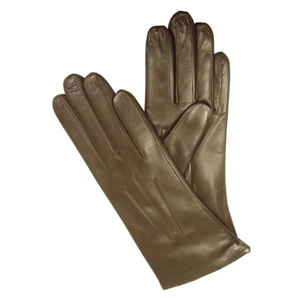 Ladies Brown Cashmere Wool Lined Leather Glove