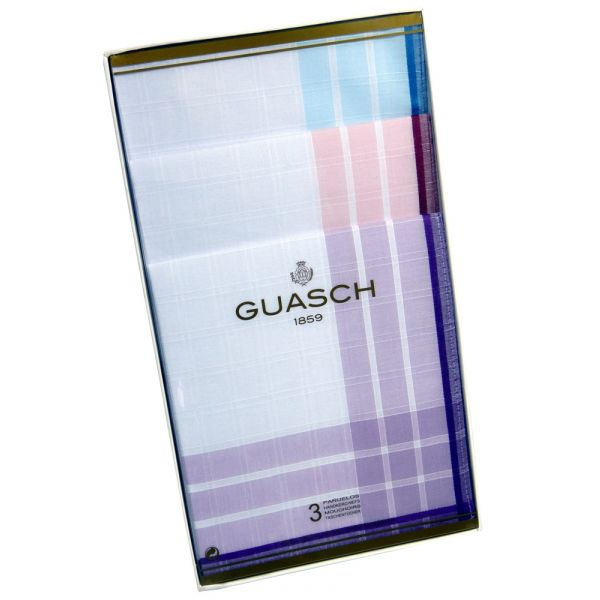 White with Coloured Borders Cotton Ladies Handkerchiefs by Guasch