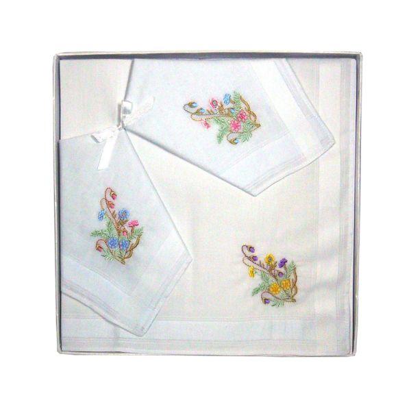 Floral Design Ladies Embroidered Handkerchief by Guasch