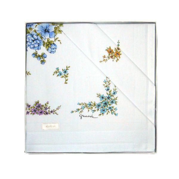 Multi Flowers Ladies Cotton Handkerchief by Guasch