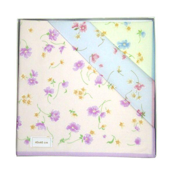 Pastel Flowers Cotton Ladies Handkerchiefs by Guasch