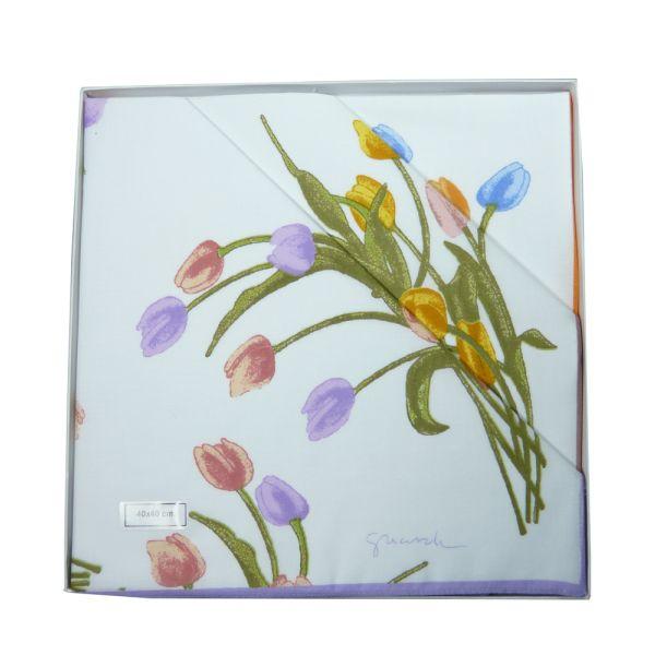Tulips Cotton Ladies Handkerchiefs by Guasch