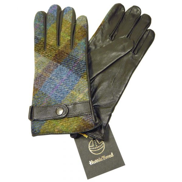 Brown Leather Gloves with Purple Harris Tweed Back and Clip Cuff