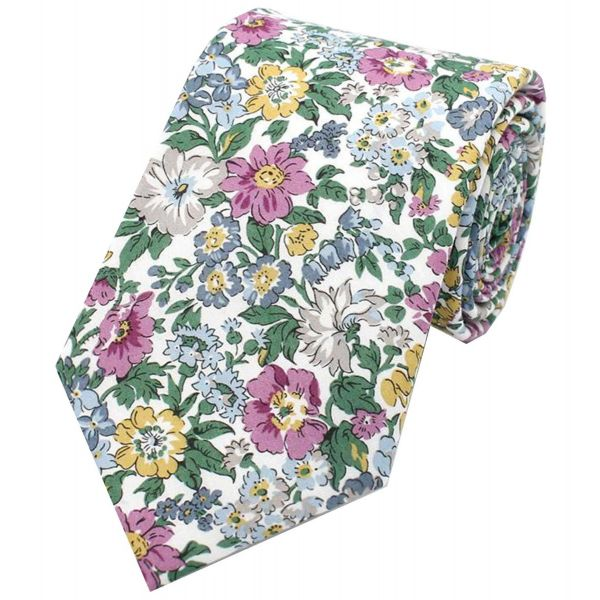 Made with Liberty Fabric - Pink Grey and Blue Flowers - Cotton Tie