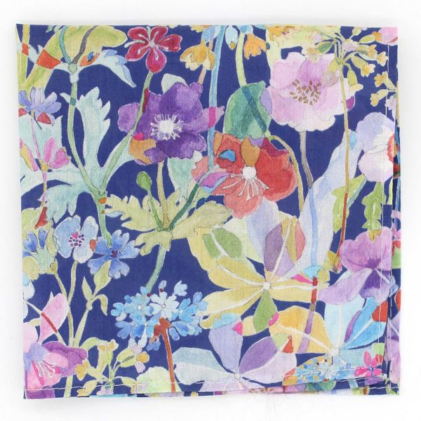 Made with Liberty Fabric - Flowers on Dark Blue - Cotton Hankie
