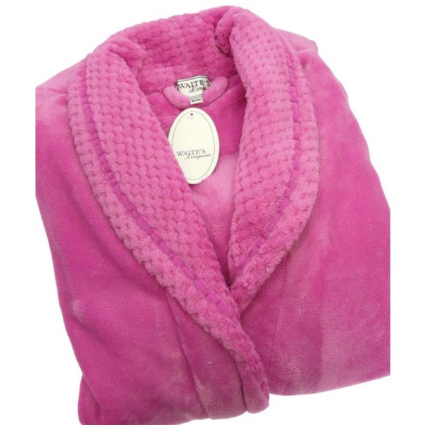 Hot Pink Textured Collar Soft Robe from Waites