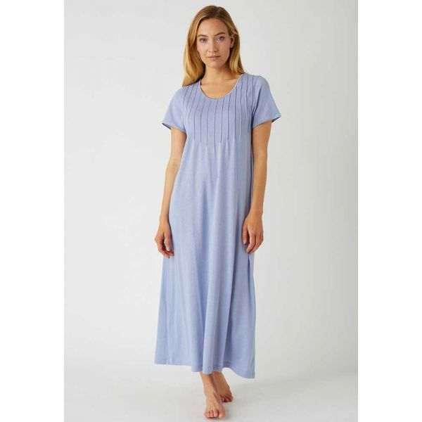 Ladies French Pleat Short Sleeved Nightdress in French Grey,  Jersey Collection by Bonsoir of London