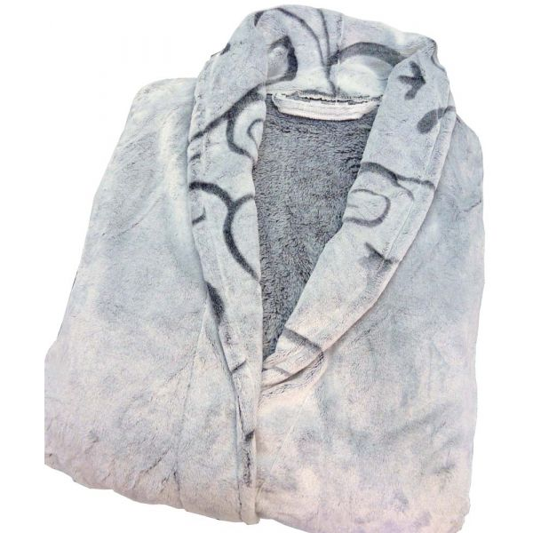 Silver Grey Ladies Dressing Gown in Supersoft Velour from Waites Lingerie