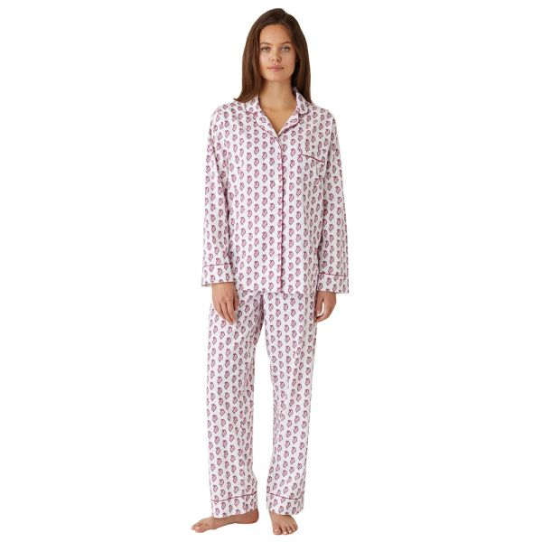 Ladies Brushed Cotton Pyjamas in Berry Paisley from Bonsoir of London