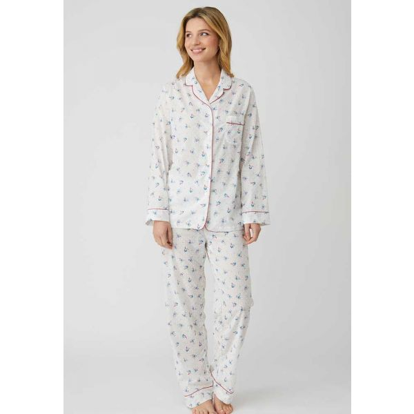 Ladies Lightweight Long Sleeved Cotton pyjamas in Cream with a Posy Design by Bonsoir of London