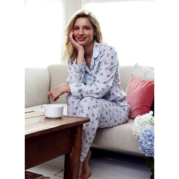 Ladies Lightweight Long Sleeved Cotton pyjamas in Pale Blue with a Posy Design by Bonsoir of London