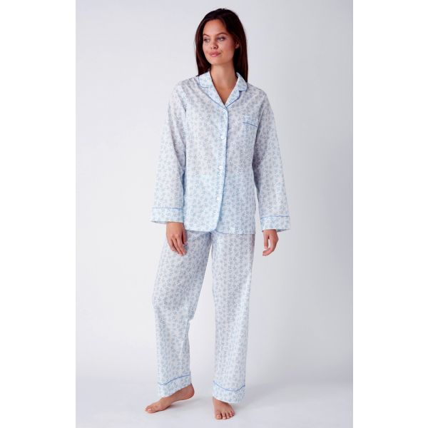 Ladies White Lightweight Long Sleeved Cotton pyjamas with Blue Forget-Me-Not Design by Bonsoir of London
