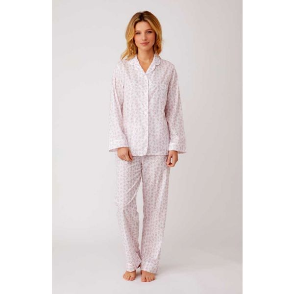 Ladies White Lightweight Long Sleeved Cotton pyjamas with Pink Forget-Me-Not Design by Bonsoir of London