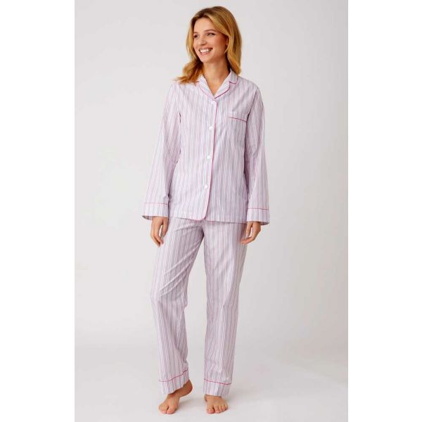 Ladies White Lightweight Long Sleeved Cotton pyjamas with Pink and Grey/Blue stripes by Bonsoir of London