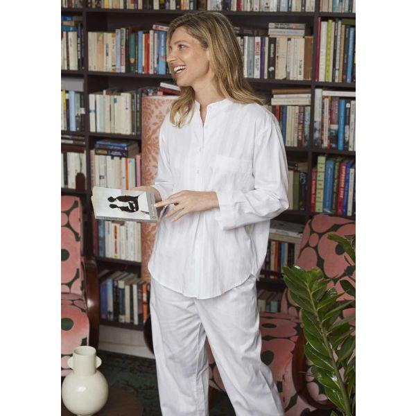 Ladies White Satin Stripe lightweight Cotton pyjamas by Bonsoir of London