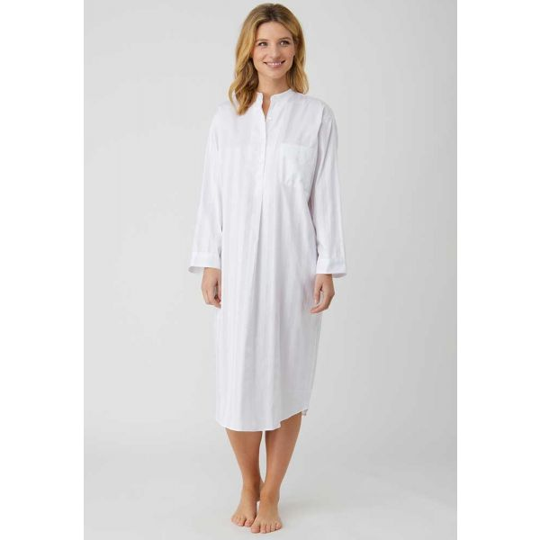 Ladies Grandad Collar Long Nightshirt in White Satin Stripe lightweight Cotton by Bonsoir of London