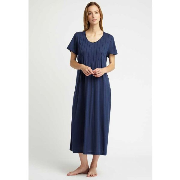Ladies French Pleat Short Sleeved Nightdress in Midnight Blue, Jersey Collection by Bonsoir of London