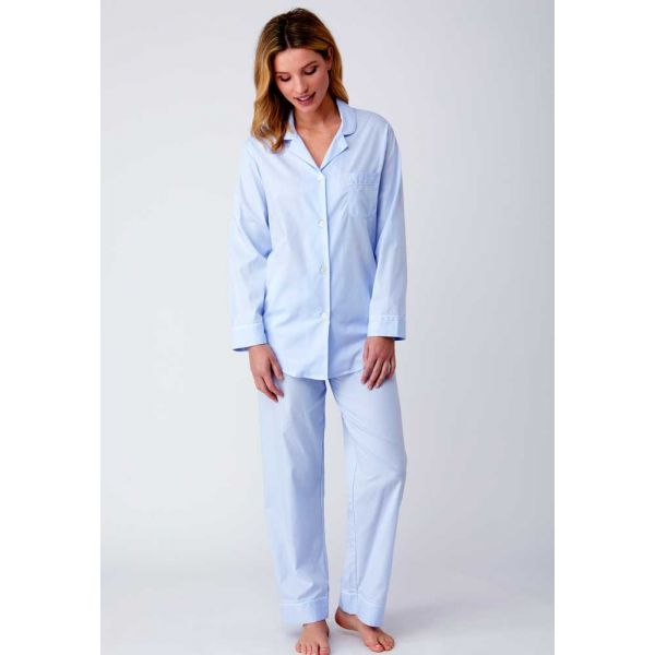 Ladies Jacquard Elastic Waist Pyjamas in Soft Blue by Bonsoir of London