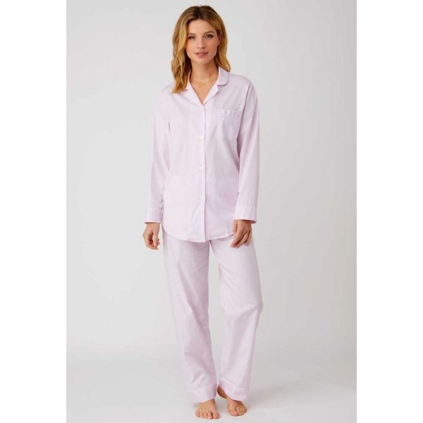Ladies Jacquard Elastic Waist Pyjamas in Soft Pink by Bonsoir of London