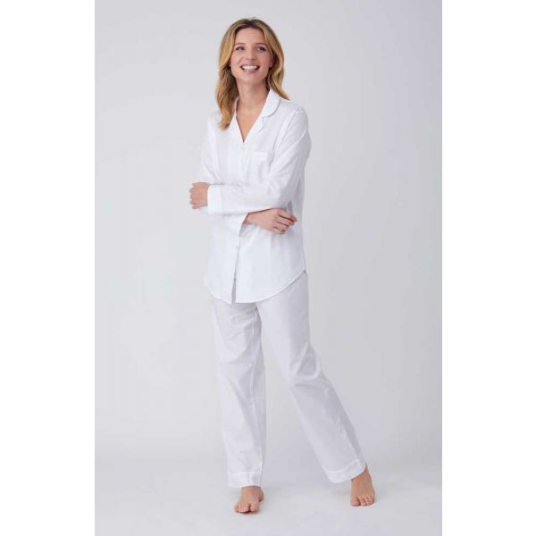 Ladies Jacquard Elastic Waist Pyjamas in Classic White by Bonsoir of London
