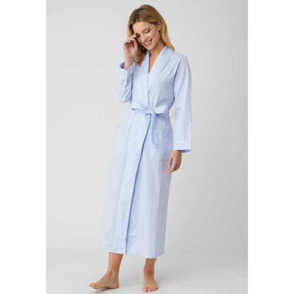 Ladies Long Shawl Collar Jacquard Dressing Gown in Pale Blue by Bonsoir of London