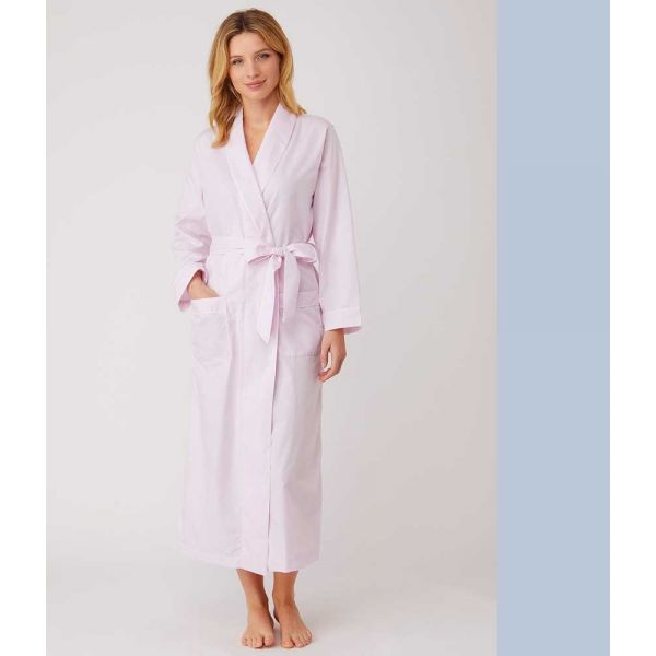 Ladies Long Shawl Collar Jacquard Dressing Gown in Soft Pink by Bonsoir of London