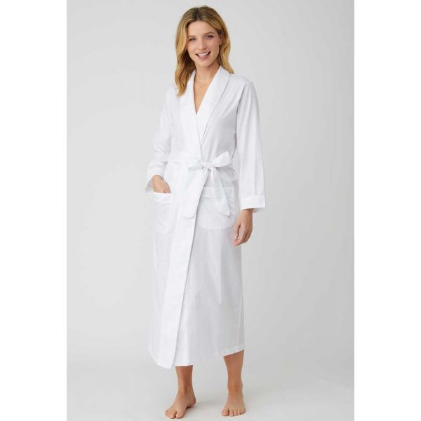 Ladies Long Shawl Collar Jacquard Dressing Gown in Classic White by Bonsoir of London