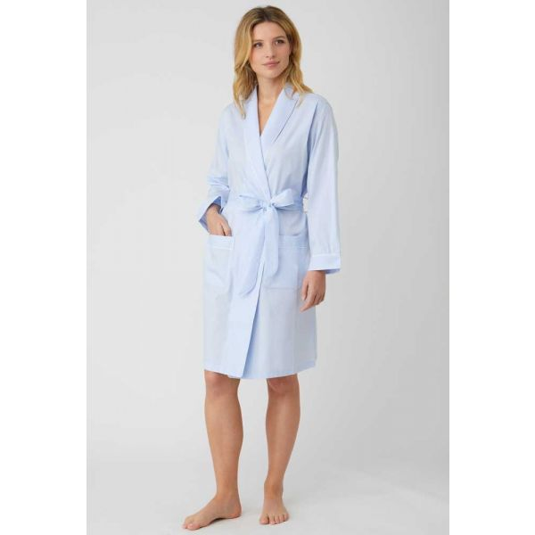 Ladies Short Shawl Collar Jacquard Dressing Gown in Pale Blue by Bonsoir of London