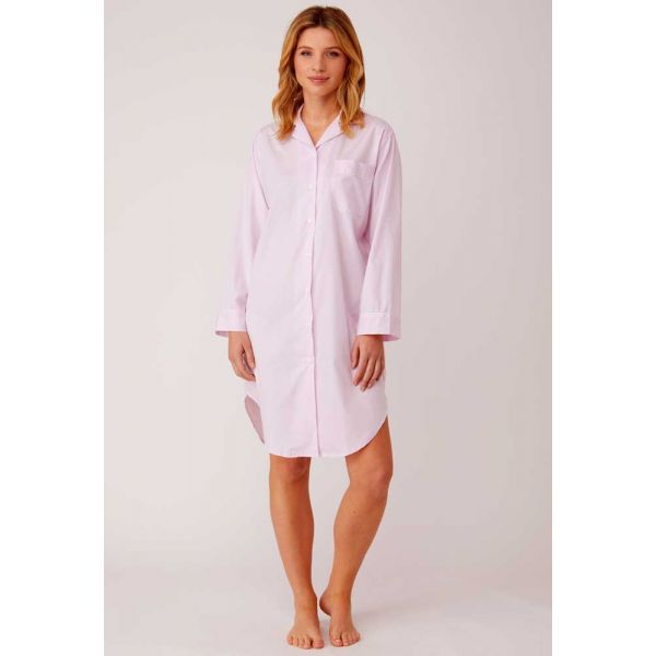 Ladies Button-down Jacquard Nightshirt in Soft Pink by Bonsoir of London