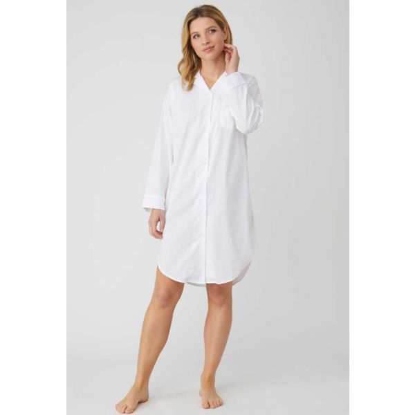 Ladies Button-down Jacquard Nightshirt in Classic White by Bonsoir of London