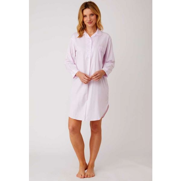 Ladies Over the Head Jacquard Nightshirt in Soft Pink by Bonsoir of London