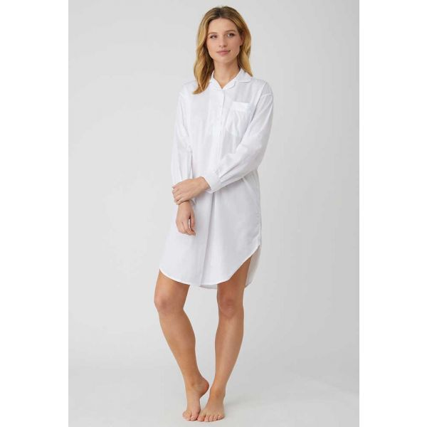 Ladies Over the Head style Jacquard Nightshirt in Classic White by Bonsoir of London