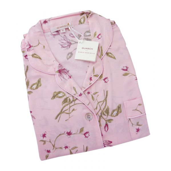 Guasch - Ladies Shortie Pyjamas - Pink Floral Design