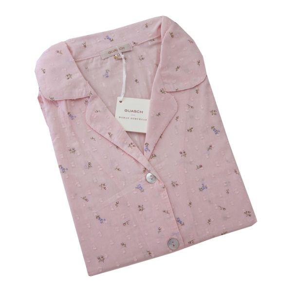 Guasch - Ladies Cotton Pyjamas - Pink Flower Buds Design