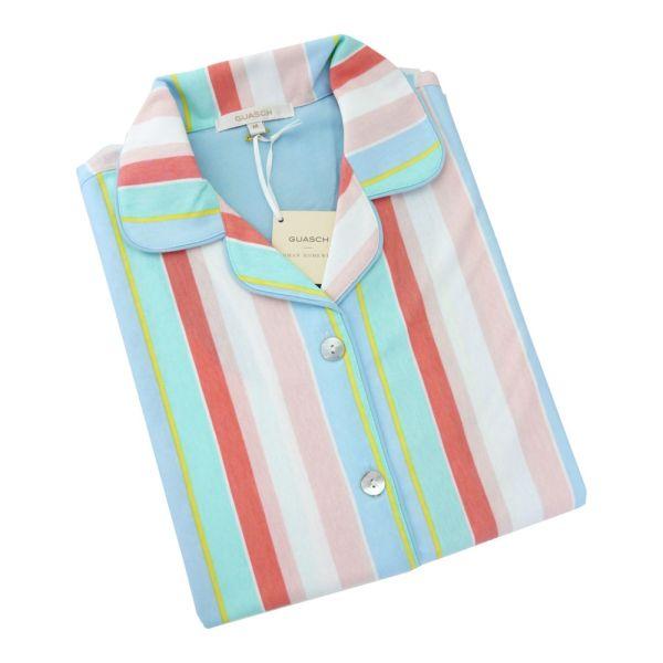 Guasch - Ladies Shortie Pyjamas - Candy Stripe Cotton