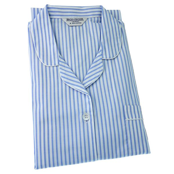 Ladies Cotton Pyjamas - Blue Twill Stripe - Bonsoir of London