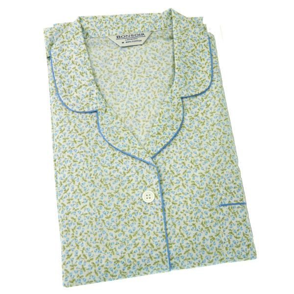 Ladies Cotton Pyjamas in Blue Spring Flowers Design from Bonsoir of London