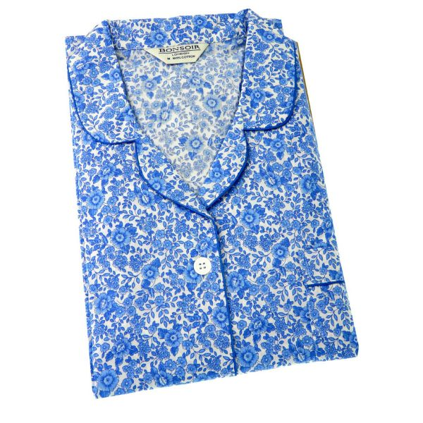 Ladies Cotton Pyjamas in Blue Willow Flowers Design from Bonsoir of London