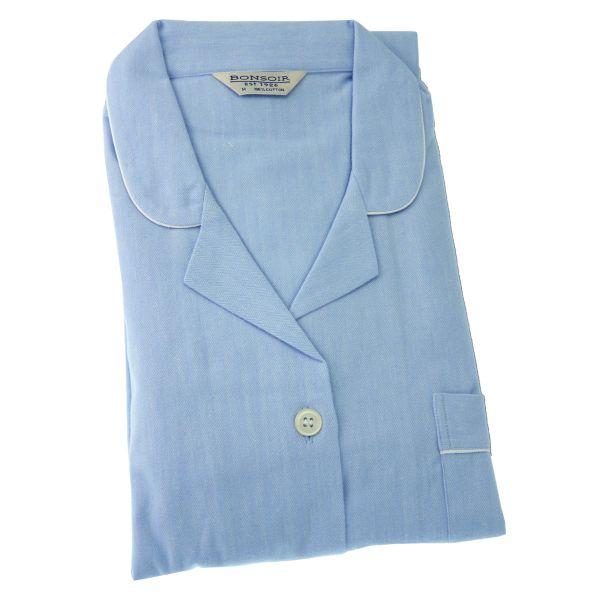 Ladies Pyjamas - Pale Blue Brushed Cotton - Bonsoir of London