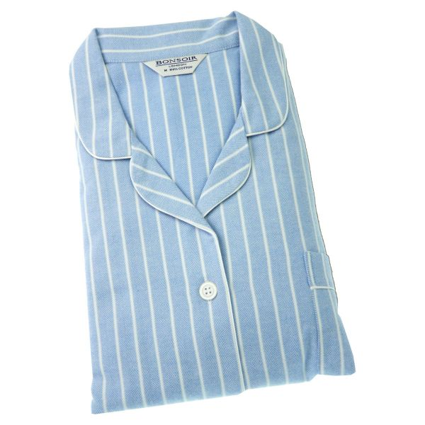 Ladies Pyjamas - Blue and White Stripe Brushed Cotton - Bonsoir of London