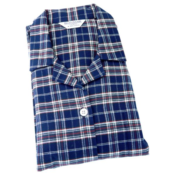 Ladies Pyjamas - Navy and Red Check Brushed Cotton - Bonsoir of London