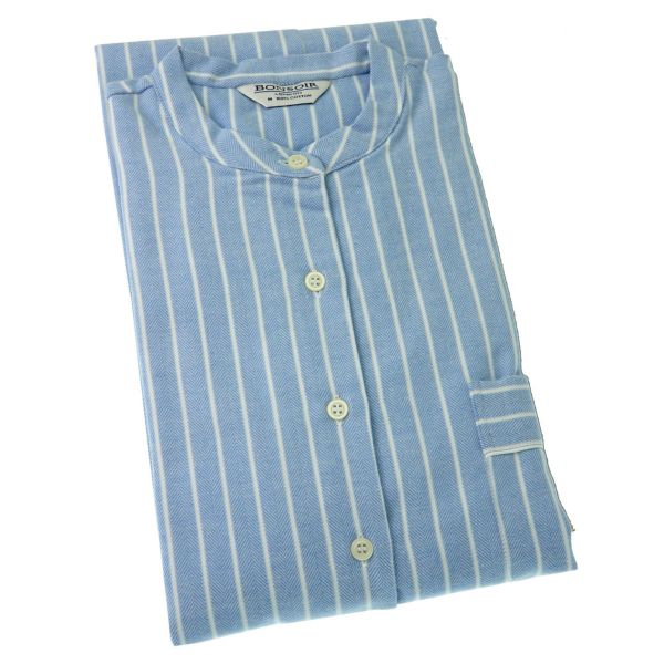 Ladies Nightshirt - Blue and White Stripe Brushed Cotton - Bonsoir of London