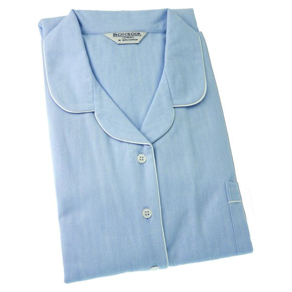 Ladies Nightshirt - Plain Blue Brushed Cotton - Bonsoir of London